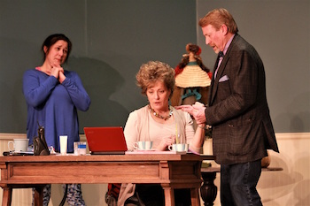 """Michelle Corbett as Tess, Susan Hedges as Margot and Kyle Cranston as Theo in NFCT's production of """"The Female of the Species."""""""