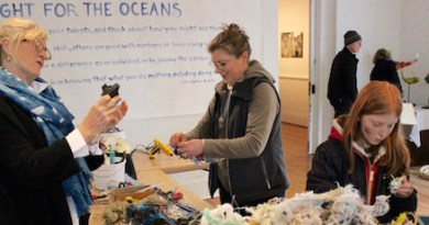 Artist Cindy Pease Roe led an Upsculpting session at Southampton Arts Center's Earth Day celebration Saturday, with the help of attendees Diane and Cassidy Hewett.