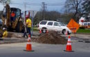 Utility workers made upgrades around the Riverside traffic circle in mid-April.