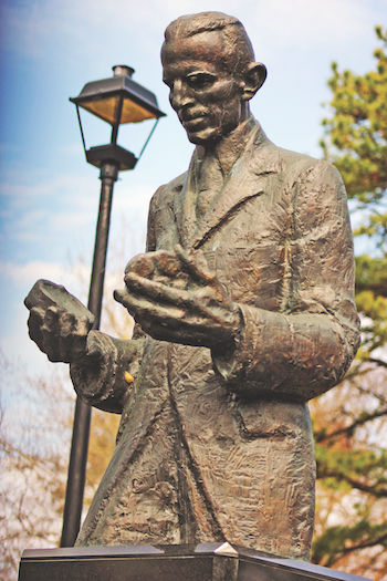 Serbia's statue paying tribute to Nikola Tesla at the Wardenclyffe lab.