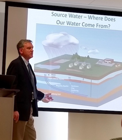 SCWA Deputy Chief Executive Officer for Operations Joe Pokorny explains water projects in Sag Harbor.