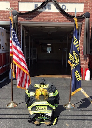 A memorial to Jason Cooper at the Cutchogue Fire Department Monday morning  |  George Cork Maul photo