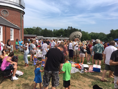 The crowd for the partial eclipse at Custer Institute in Southold | photo courtesy Rick Kedenburg.