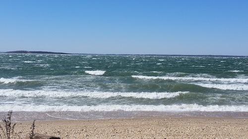 The bay plays ocean.