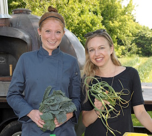 Zoe Klein, Associate Director of Education and Programs and Christina Castle, chef who taught the Foundation's Farm Fresh Series this summer.