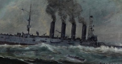 """""""USS San Diego (Armored Cruiser No. 6)"""" at her sinking, by Francis Muller, 1920 