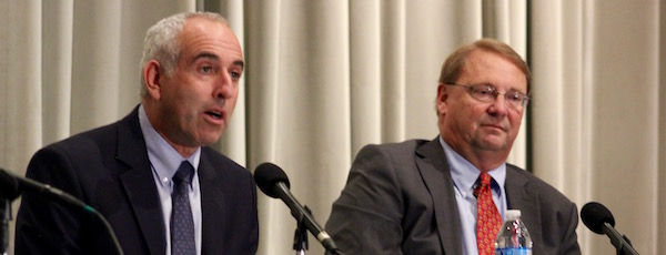 Jay Schneiderman and Ray Overton at the Southampton Press debate Oct. 12.