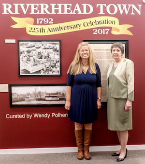 Wendy Polhemus-Annibell and Riverhead Town Historian Georgette Case at the exhibition opening Oct. 14.