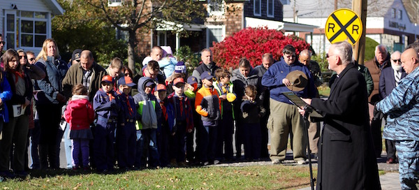 Reverend George Summers gives the invocation at the Mattituck American Legion's Veterans Day service
