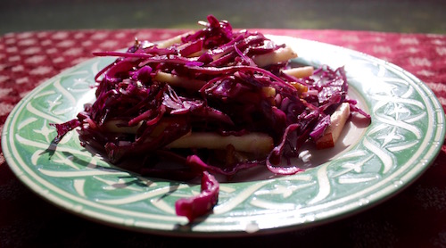 Red Cabbage & Apple Salad with Walnut Dressing