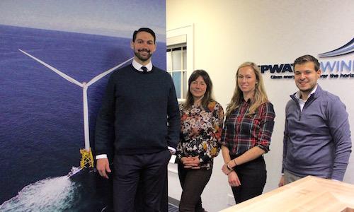 Deepwater Wind representatives Clint Plummer, Julia Prince, Jennifer Garvey and Jamil Khan at their Amagansett office.