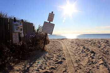 Beach Lane in Amagansett, the proposed landing site of the cable from the South Fork Wind Farm.