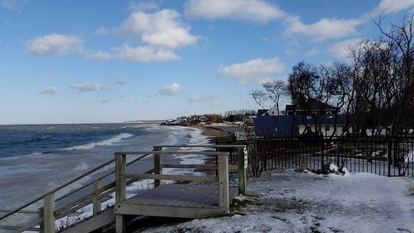 Hashamomuck Cove as seen from the end of Soundview Avenue the day after the storm.