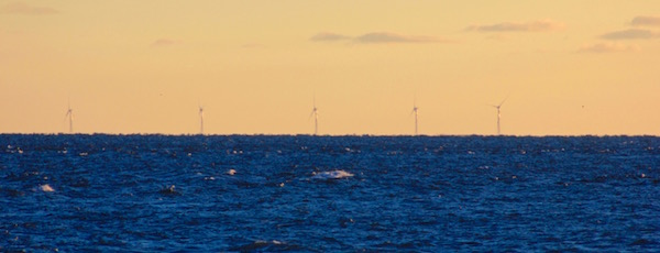 Deepwater Wind's Block Island wind farm, as seen through a 200 mm lens from Montauk Point.