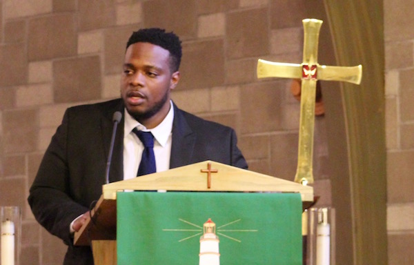 Rev. Enoch Thomas of St. John's Baptist Church in Hempstead at Southold's 2018 Martin Luther King Day celebration.
