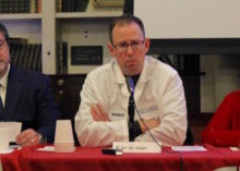Drs. Shawn Cannon and Dan Van Arsdale and Alternatives Acting Executive Director Karen Martin at the Feb. 8 forum.