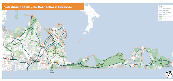 A map of townwide pedestrian and bicycle connections in East Hampton prepared as part of the hamlet studies.