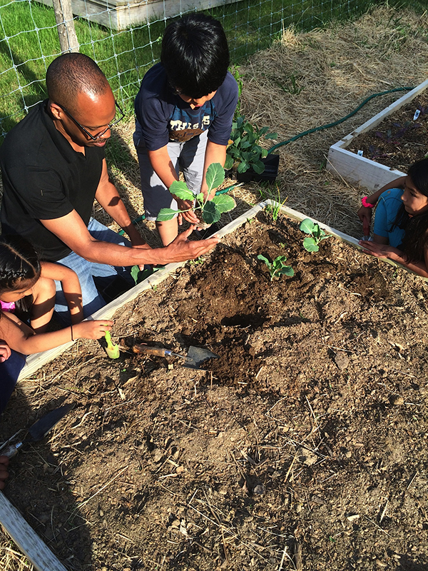 Chef Doug in the garden at the Bridgehampton Child Care & Recreation Center
