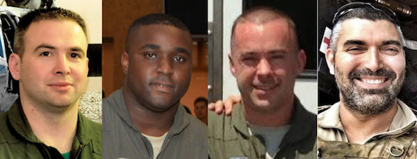 Capt. Andreas O'Keefe, Staff Sgt Dashan Briggs, Capt. Christopher Zanetis and Master Sgt. Christopher Raguso