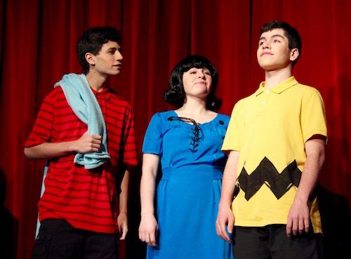 Ryan Nowak, Leah Kerensky and Jason Rios as Linus, Lucy and Charlie Brown