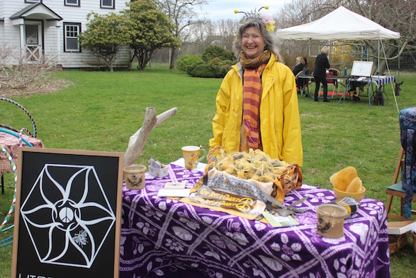 Susan Merrie of the Hippy Hive Honey Co-Op, baded at Jamesport's Golden Earthworm farm, which raises both honeybees and awareness of the threats to bees.