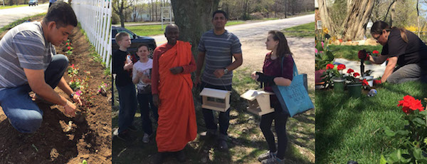 Volunteers helped plant a garden this weekend at the Long Island Buddhist Meditation Center at the former Northville Grange Hall. | photo courtesy Don Jayamaha