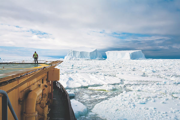"""Camille Seaman's """"Looking at the Icebergs Near Franklin Island, The Ross Sea, Antarctica, 2006"""""""