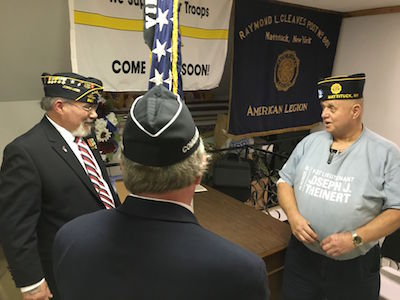 Incoming Commander John Ribeiro and outgoing Commander Robert Neudeck at the swearing in ceremony | courtesy Mattituck American Legion