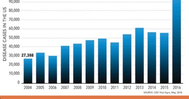 The CDC's graph of vector-borne illnesses since 2004.