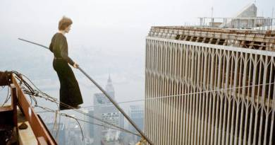 Philippe Petit during his infamous walk between the Twin Towers.
