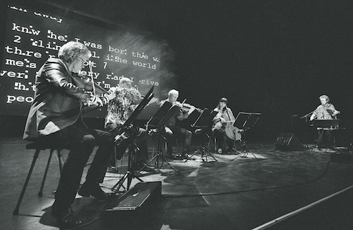 """A performance of """"Landfall"""" with the Kronos Quartet"""
