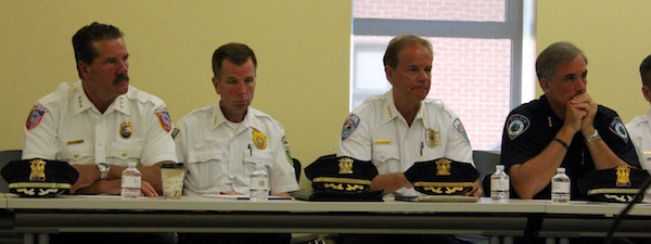 (Left to right): East End police chiefs Martin Flatley of Southold, David Hegermiller of Riverhead, Steven Skrynecki of Southampton and Michael Sarlo of East Hampton.