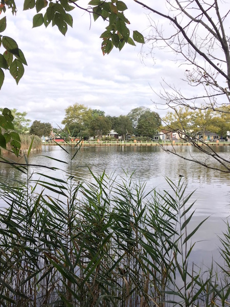 Downtown Riverhead as seen from one of the three coves in the Riverside park property