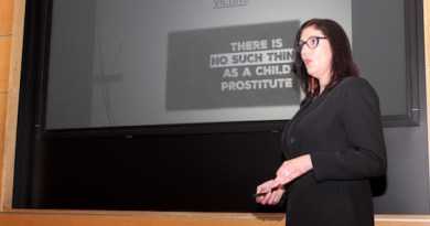 Jeri Moomaw spoke at the human trafficking forum at Stony Brook Southampton