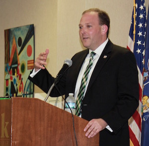 Lee Zeldin was second to speak at the NYLCV forum.
