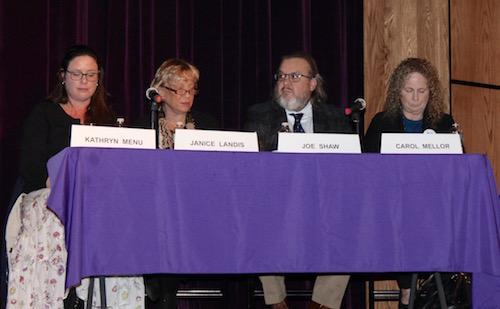 Questioners Kathryn Menu, Janice Landis, Joseph Shaw and Carol Mellor at the debate.