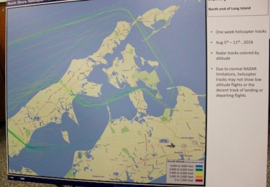 Several maps detailed the flight paths of helicopters over the North Fork.