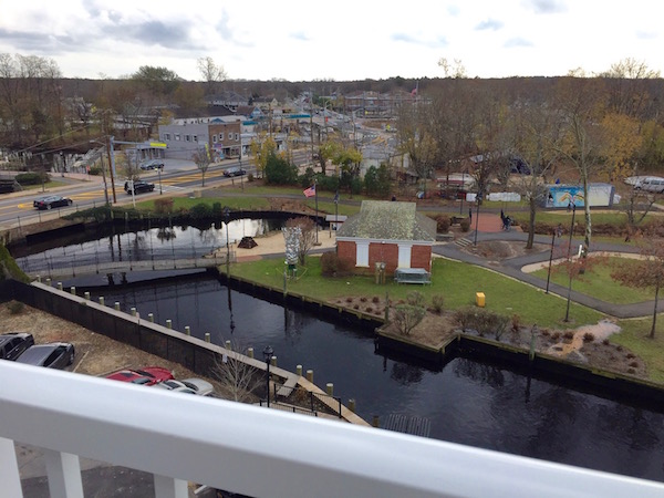The view from the fifth floor balcony, shared by residents of Peconic Crossing.