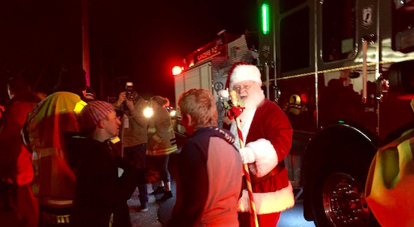 The Flanders Fire Department brought Santa Claus to the Big Duck Wednesday evening.