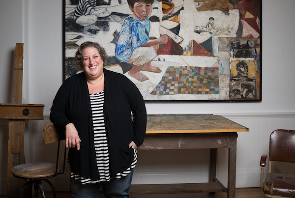 Curator Amy Kirwin in artist Paton Miller's studio space in the museum.     Madison Fender Photography