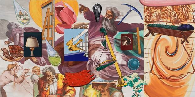 David Salle (American, born 1952) After Michelangelo, The Creation, 2005–2006.Oil and acrylic on linen 90 x 180 inches. Parrish Art Museum, Water Mill, New York, Gift of Margaret S. Bilotti, 2018.10.1 © David Salle/VAGA at Artists Rights Society (ARS), NY