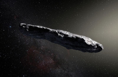 """Artist's impression of """"Oumuamua,"""" the first known interstellar object to pass through the Solar System."""