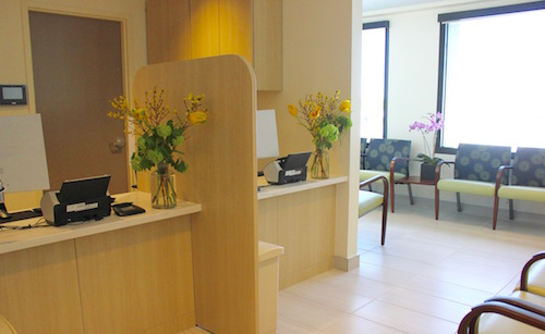 The reception area in the new Phillips Family Cancer Center.