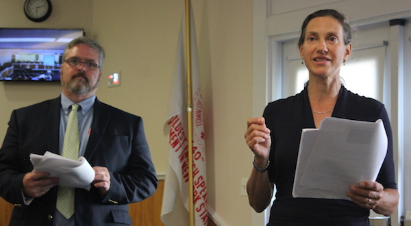 Assistant Southold Town Planning Director Mark Terry and Planning Director Heather Lanza at the July 29 hearing