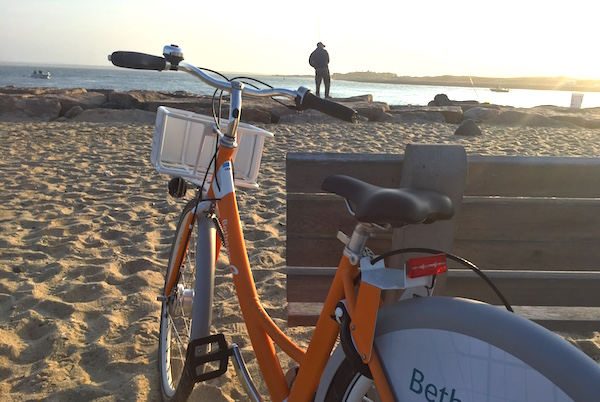At the west side of the Shinnecock Inlet on Dune Road, one of the docking stations for a new countywide bike sharing program.