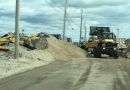 County workers move sand on Dune Road late this week | photo courtesy Southampton Town