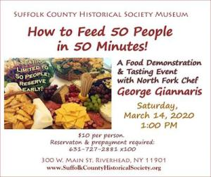 """Chef George Giannaris on """"How to Feed 50 People in 50 Minutes"""" at Suffolk County Historical Society"""