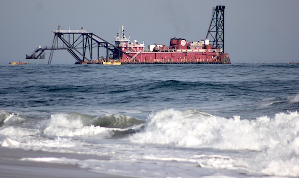 A dredge contracted by the U.S. Army Corps of Engineers worked on the West of Shinnecock Inlet project in late February.