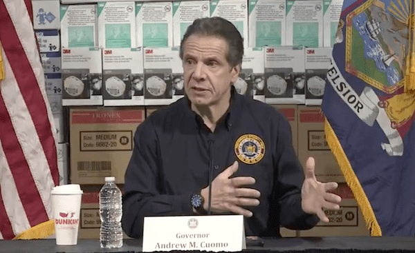 Governor Andrew Cuomo at his Tuesday morning press conference at New York City's Jacob Javitts Center, which is being converted into a 1,000-bed hospital by the U.S. Army Corps of Engineers.