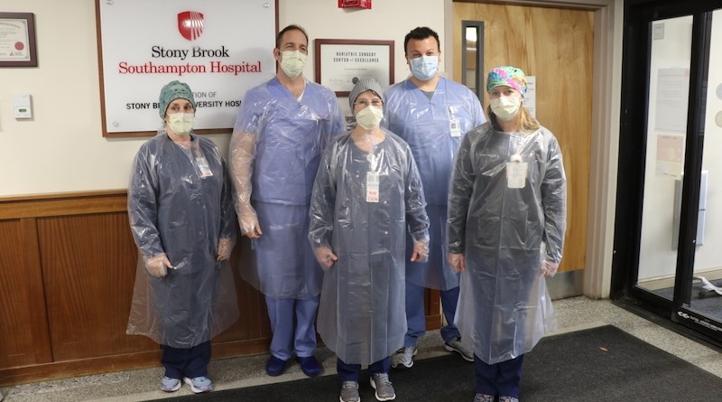 Stony Brook Southampton Hospital physicians and nurses in the protective isolation gowns locally produced and hand-assembled by over 100 dedicated East End volunteers